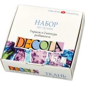 Набор акриловых красок по ткани «Decola» 5 цветов +2 контура