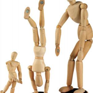 Деревянный подвижный манекен человека на магнитах